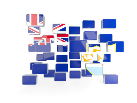 anguilla: Flag of anguilla, mosaic background. 3D illustration
