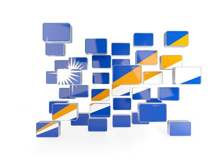 Flag of marshall islands, mosaic background. 3D illustration Stock Photo
