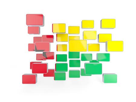 guinea bissau: Flag of guinea bissau, mosaic background. 3D illustration