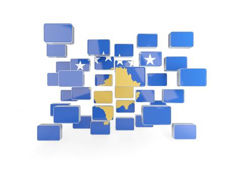 kosovo: Flag of kosovo, mosaic background. 3D illustration