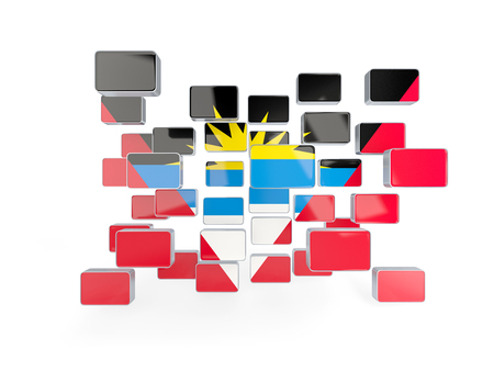 barbuda: Flag of antigua and barbuda, mosaic background. 3D illustration