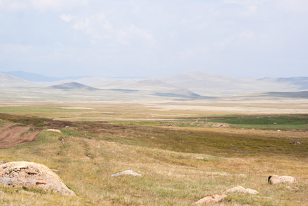 altay: Big hills in the valley. Altay mountains.