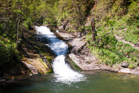 altay: Small waterfall in the forest. Altay mountains. Stock Photo
