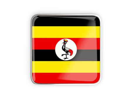 metallic border: Flag of uganda, square icon with metallic border. 3D illustration
