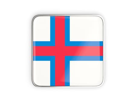 metallic border: Flag of faroe islands, square icon with metallic border. 3D illustration