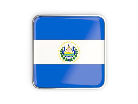metallic border: Flag of el salvador, square icon with metallic border. 3D illustration Stock Photo
