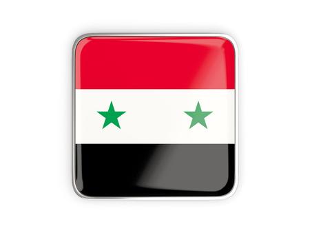 metallic border: Flag of syria, square icon with metallic border. 3D illustration
