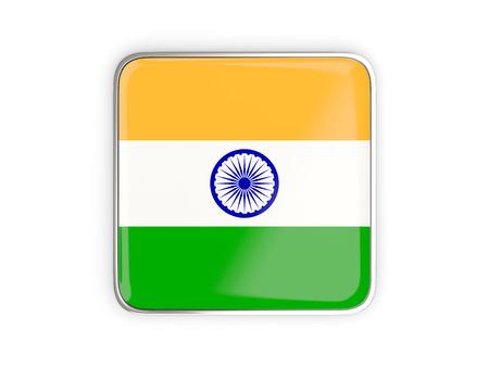 metallic border: Flag of india, square icon with metallic border. 3D illustration