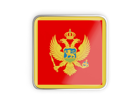Flag of montenegro, square icon with metallic border. 3D illustration