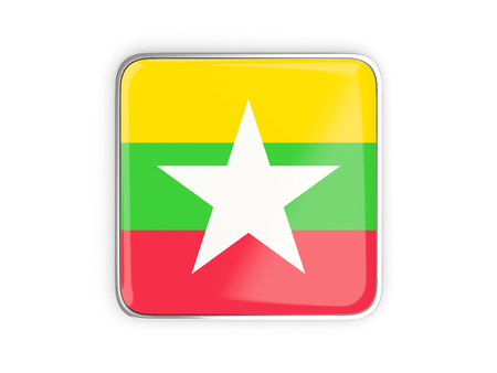 metal button: Flag of myanmar, square icon with metallic border. 3D illustration Stock Photo