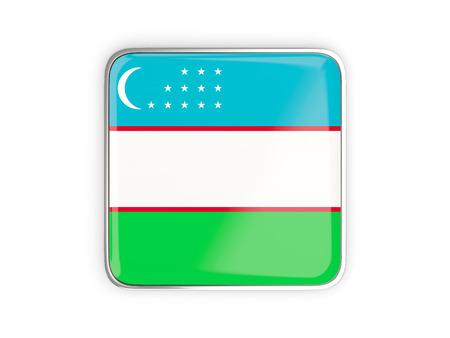 metallic border: Flag of uzbekistan, square icon with metallic border. 3D illustration Stock Photo