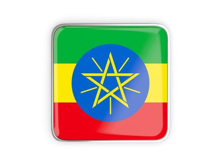 national flag ethiopia: Flag of ethiopia, square icon with metallic border. 3D illustration
