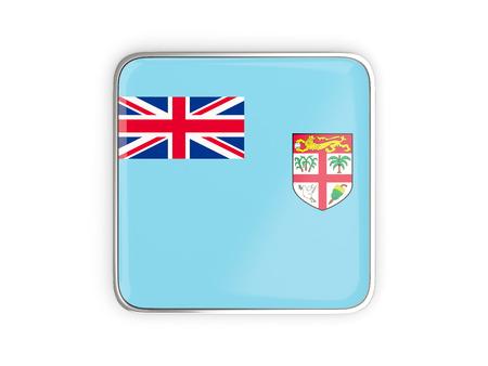 metallic border: Flag of fiji, square icon with metallic border. 3D illustration