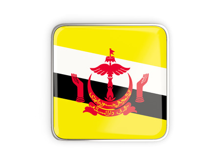 metallic border: Flag of brunei, square icon with metallic border. 3D illustration