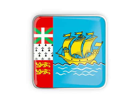 metallic border: Flag of saint pierre and miquelon, square icon with metallic border. 3D illustration