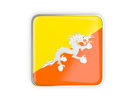 metal button: Flag of bhutan, square icon with metallic border. 3D illustration