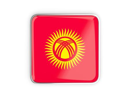 metallic border: Flag of kyrgyzstan, square icon with metallic border. 3D illustration