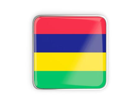 metallic border: Flag of mauritius, square icon with metallic border. 3D illustration Stock Photo