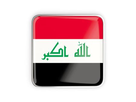 metallic border: Flag of iraq, square icon with metallic border. 3D illustration