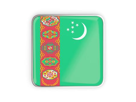 metallic border: Flag of turkmenistan, square icon with metallic border. 3D illustration
