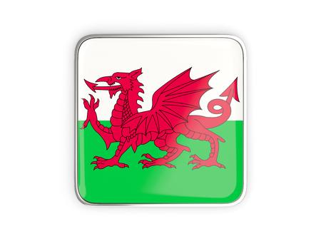 metallic border: Flag of wales, square icon with metallic border. 3D illustration