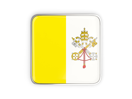 vatican city: Flag of vatican city, square icon with metallic border. 3D illustration