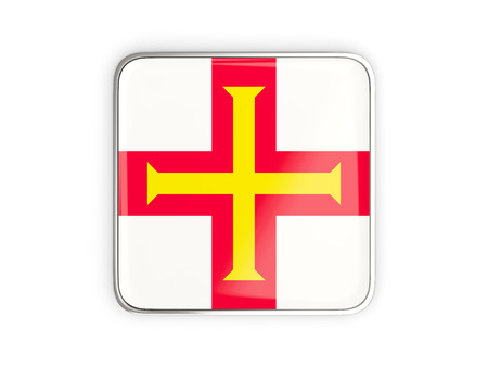 guernsey: Flag of guernsey, square icon with metallic border. 3D illustration Stock Photo