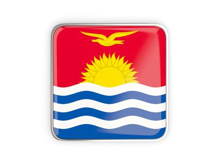 metallic border: Flag of kiribati, square icon with metallic border. 3D illustration