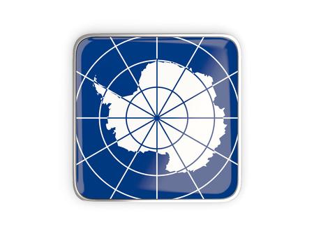 metallic border: Flag of antarctica, square icon with metallic border. 3D illustration