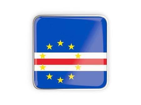 metallic border: Flag of cape verde, square icon with metallic border. 3D illustration