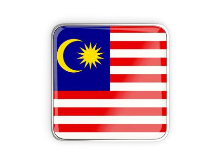 metallic border: Flag of malaysia, square icon with metallic border. 3D illustration