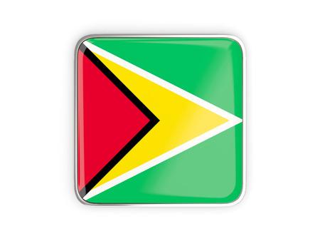 metallic border: Flag of guyana, square icon with metallic border. 3D illustration