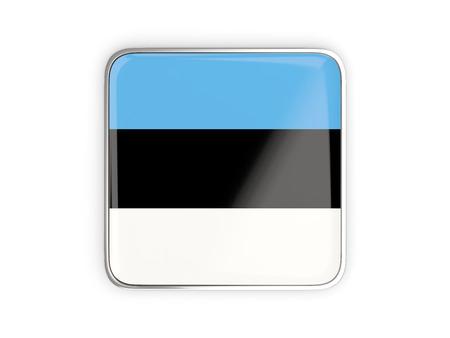 metallic border: Flag of estonia, square icon with metallic border. 3D illustration Stock Photo