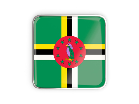 metallic border: Flag of dominica, square icon with metallic border. 3D illustration Stock Photo