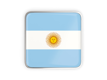 metallic border: Flag of argentina, square icon with metallic border. 3D illustration