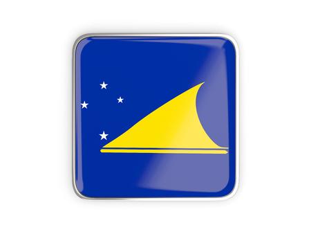 tokelau: Flag of tokelau, square icon with metallic border. 3D illustration Stock Photo