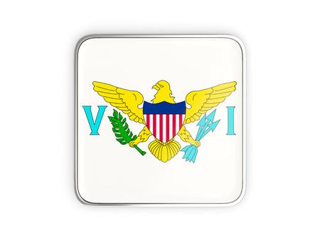 virgin islands: Flag of virgin islands us, square icon with metallic border. 3D illustration
