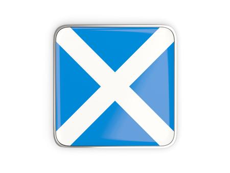 metallic border: Flag of scotland, square icon with metallic border. 3D illustration Stock Photo