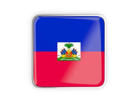 haiti: Flag of haiti, square icon with metallic border. 3D illustration