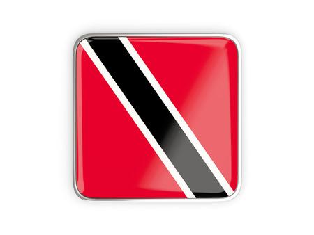 metallic border: Flag of trinidad and tobago, square icon with metallic border. 3D illustration Stock Photo