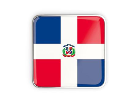 metallic border: Flag of dominican republic, square icon with metallic border. 3D illustration Stock Photo