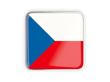 metallic border: Flag of czech republic, square icon with metallic border. 3D illustration