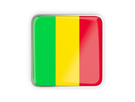 metallic border: Flag of mali, square icon with metallic border. 3D illustration Stock Photo