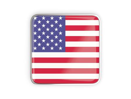 metallic border: Flag of united states of america, square icon with metallic border. 3D illustration