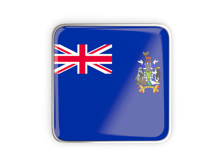 south georgia: Flag of south georgia and the south sandwich islands, square icon with metallic border. 3D illustration Stock Photo
