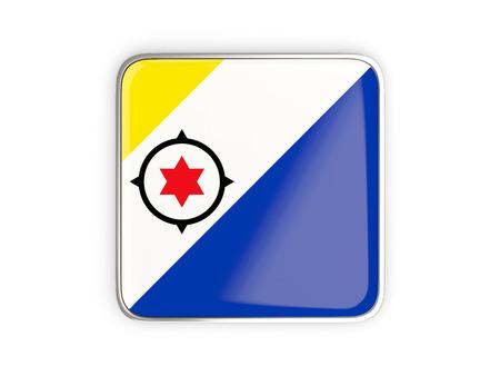 metallic border: Flag of bonaire, square icon with metallic border. 3D illustration