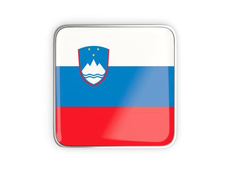 metallic border: Flag of slovenia, square icon with metallic border. 3D illustration
