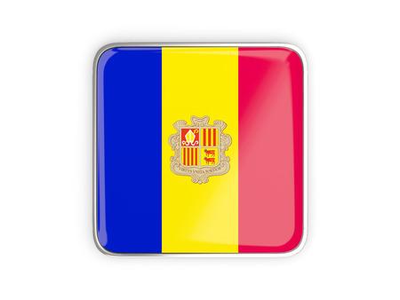 metallic border: Flag of andorra, square icon with metallic border. 3D illustration