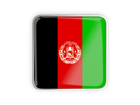 metal button: Flag of afghanistan, square icon with metallic border. 3D illustration Stock Photo