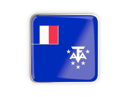 flag french icon: Flag of french southern territories, square icon with metallic border. 3D illustration